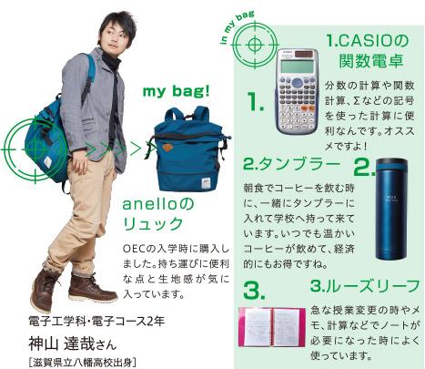 トートバッグ、筆箱、シャーペン、iPod nano